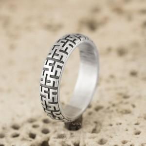 """Обручальное кольцо """"Цветок папоротника"""" серебро"""