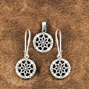 Комплект из сережек и кулона Алатырь-щит из серебра