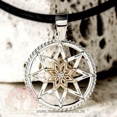 Алатырь щит из серебра и золота и с самоцветом